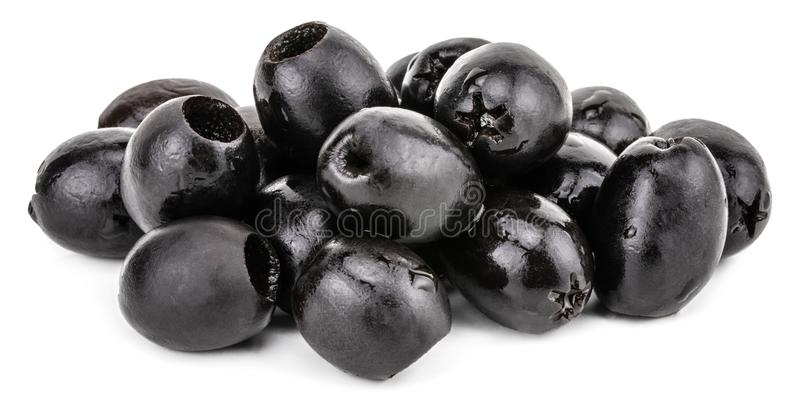 Black olives isolated on a white background. With clipping path.  royalty free stock photography