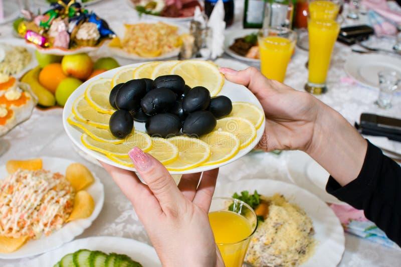 Black olives and lemons.
