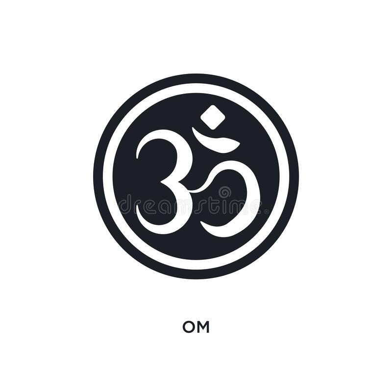Black om isolated vector icon. simple element illustration from religion concept vector icons. om editable logo symbol design on. White background. can be use royalty free illustration