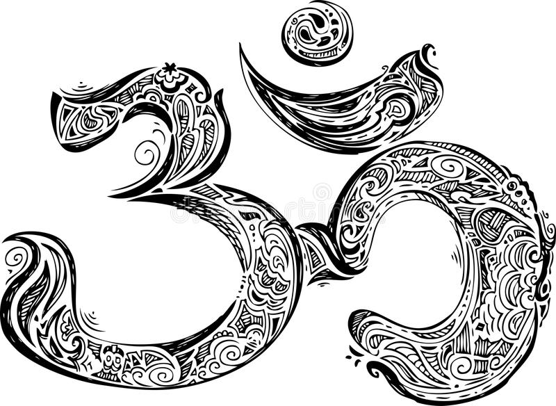 Coloring Black Om symbol stock photos