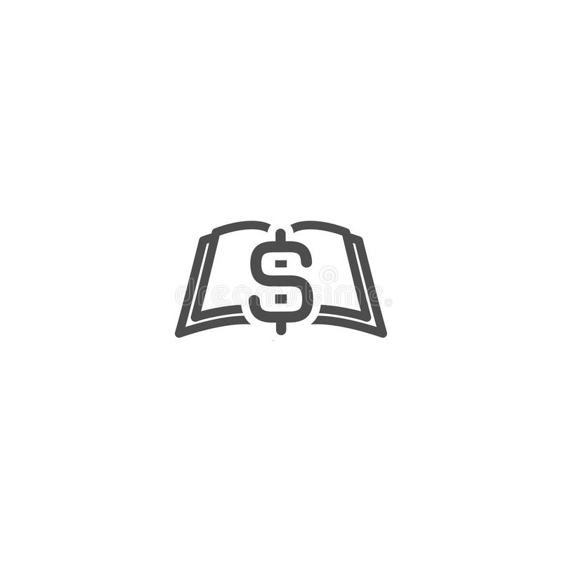 Black Open book with black dollar signs flying out isolated on white. Money book business concept. Flat royalty free illustration