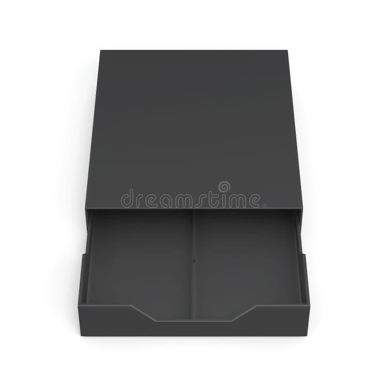 Black open drawer box on white background. 3d rendering. Black open drawer box on white background. Laminated cardboard. Plastic box. 3d rendering stock illustration