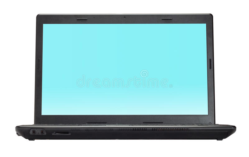 Black open laptop. Isolated on white background royalty free stock photo