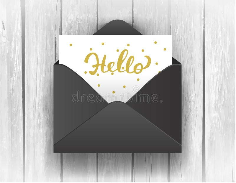 Black opened envelope with Hello Lettering on wooden background. royalty free illustration