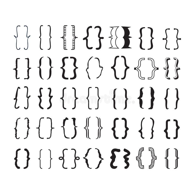 Black opening and closing pairs curly brackets or braces with different fonts and styles icons set. On white background vector illustration
