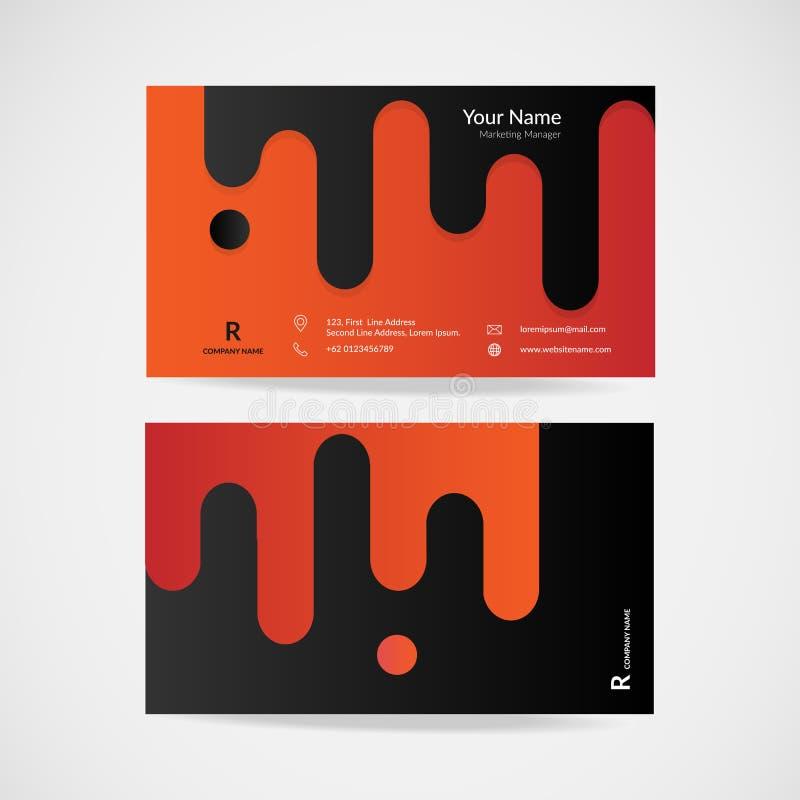 Orange Business Card Modern Design Stock Vector