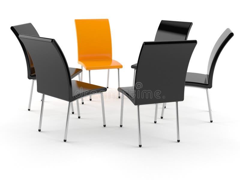 Black and orange chairs. Isolated on white background royalty free illustration
