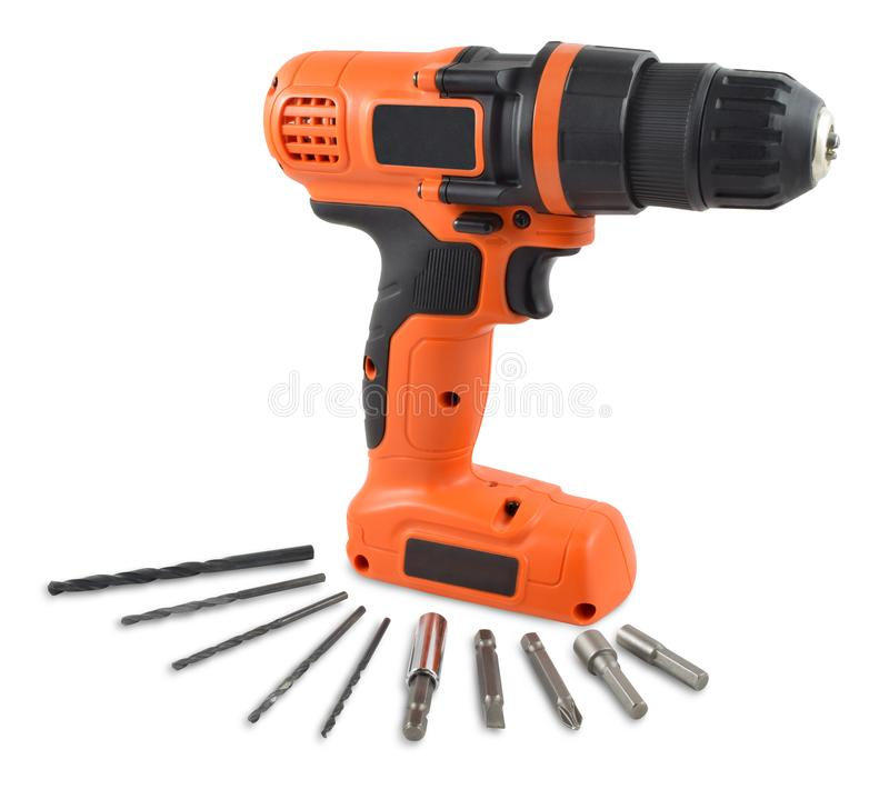 Black and Orange Drill/Impact Driver Isolated on White Background with an Array of Drill Bits. Contains Clipping Path. royalty free stock photo