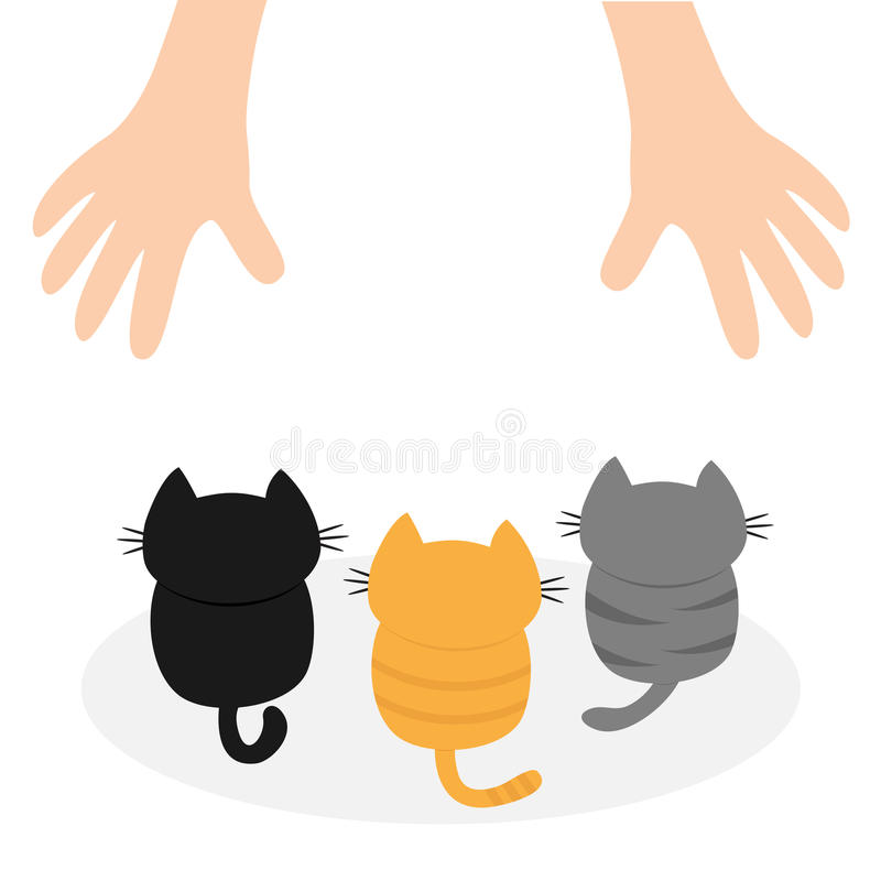 Black, orange, gray kittens looking up to human hand. Cute cartoon funny character. Animal hug. Adopt me. Helping hands concept. R stock illustration