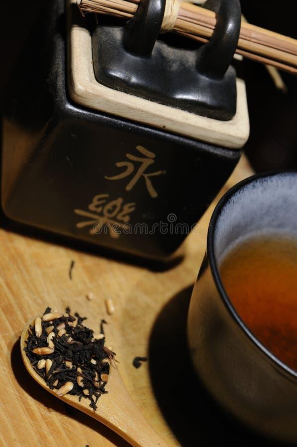 Black organic tea with rice