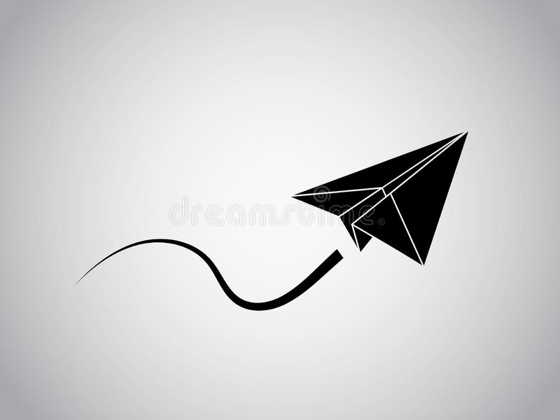A black origami aircraft made with paper flying smoothly vector illustration on white background for business vector illustration