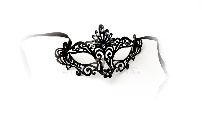 Black Ornate Masquerade Mask on White Background stock images