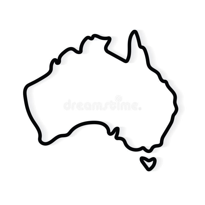 Australia Map Black And White Outline.Black Outline Of Australia Map Stock Vector Illustration