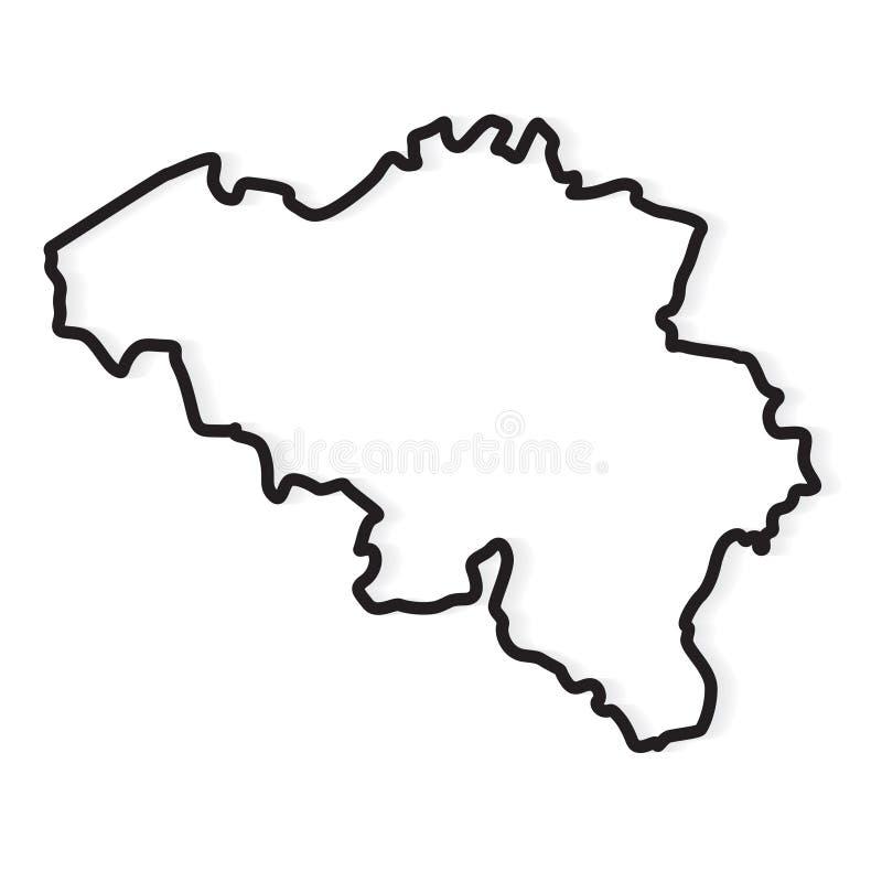Black outline of Belgium map. Vector illustration royalty free illustration