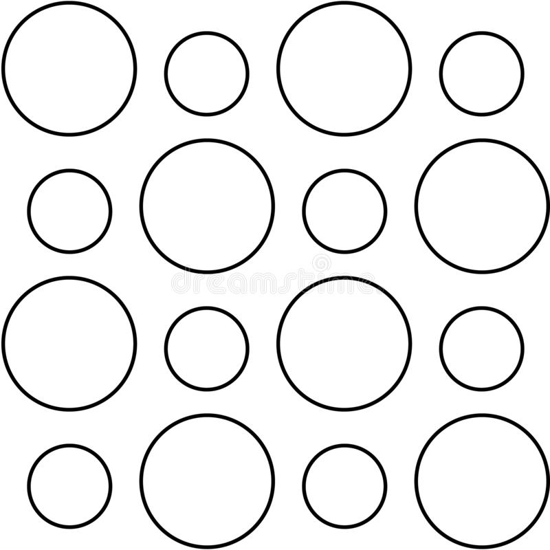 Black outline circles. Fibonacci ratio between dimensions of circles is 144: 89 golden number stock illustration