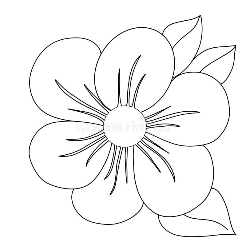 Black outline of flower with leaves stock illustration