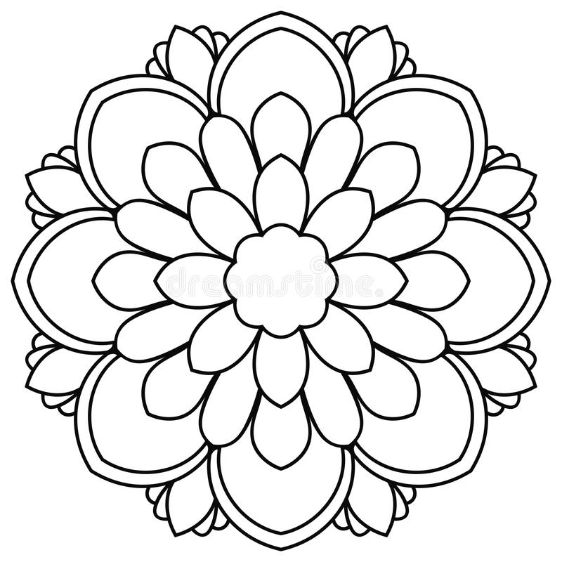 Download Black Outline Flower Mandala Doodle Round Decorative Element For Coloring Book Isolated On White