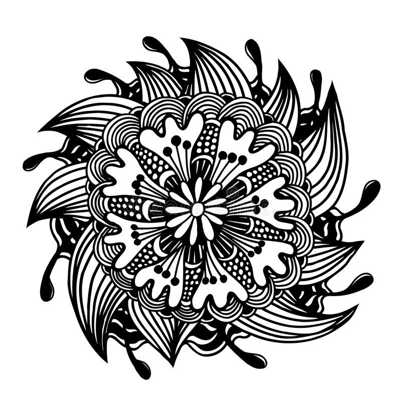 Black outline flower royalty free illustration