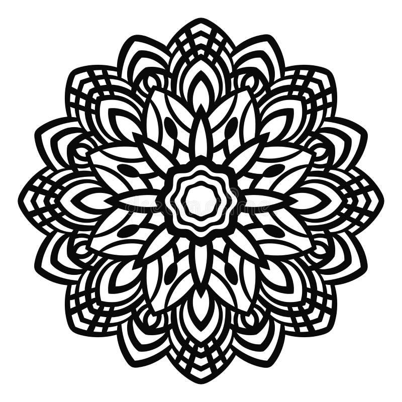 Black outline flower mandala. Ornamental hand drawn floral element. Vintage decorative background. vector illustration