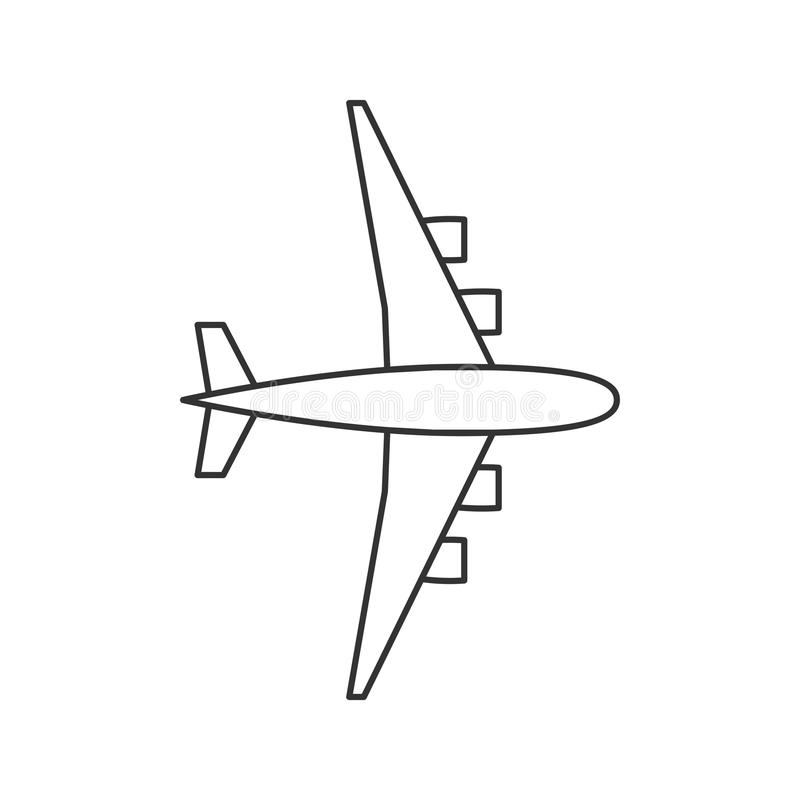 Black outline isolated airplane on white background. Line View from above of aeroplane. royalty free illustration
