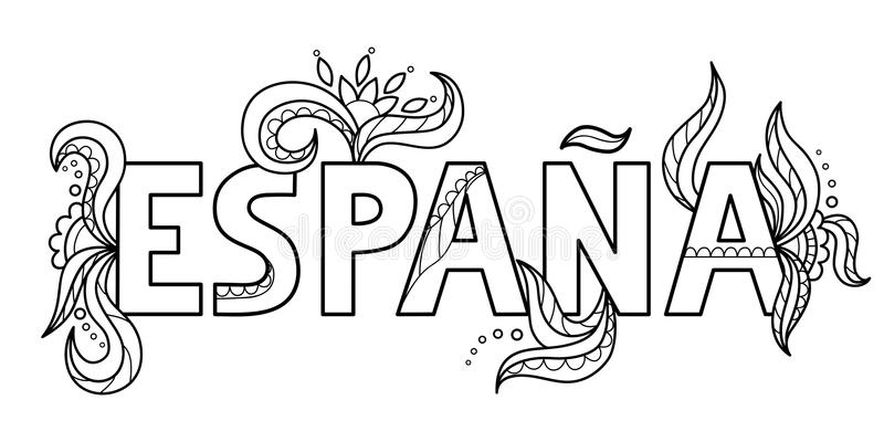 Black outline isolated hand drawn decorative word in spanish language. Line lettering phrase, handmade print poster on white backg royalty free illustration
