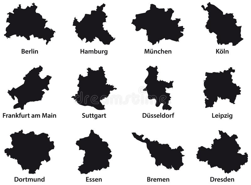 Black outline maps of the 12 most populous cities of the Federal Republic of Germany royalty free illustration