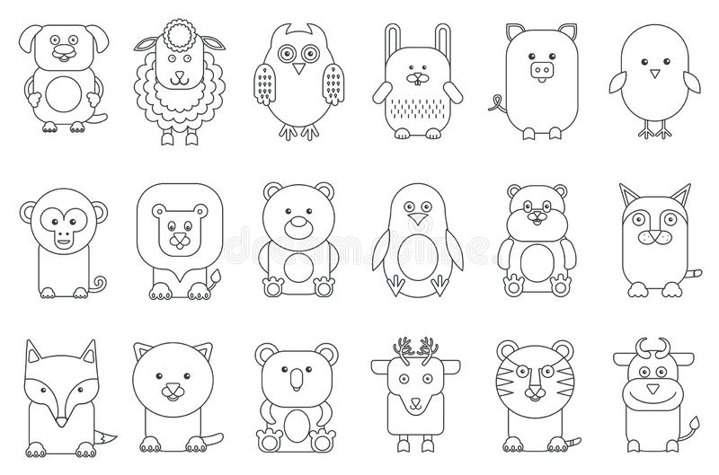 Black outline various adorable cartoon animals mammals and birds set vector illustration. vector illustration