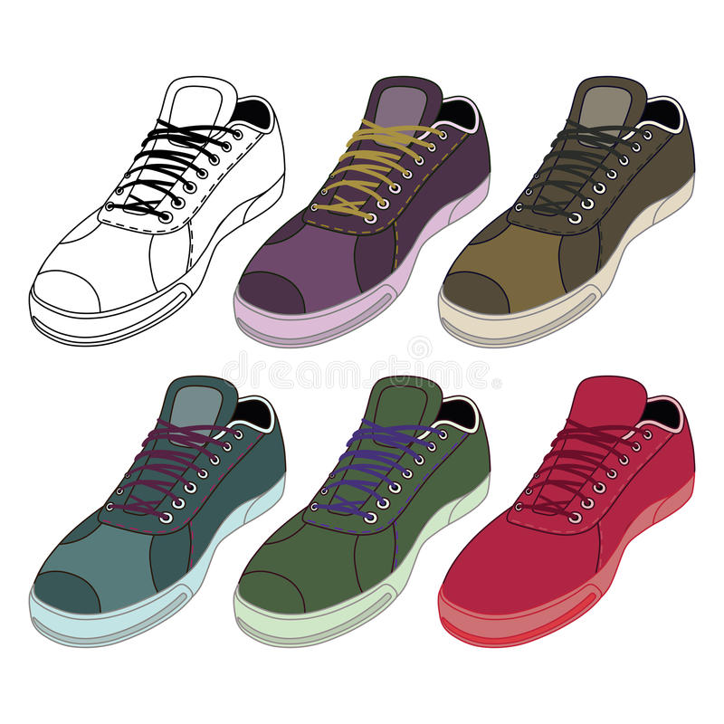 Black outlined & colored sneakers shoes set vector illustration
