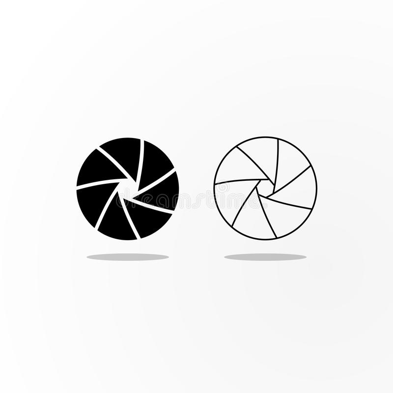 Black and outlined icons of camera shutter diaphragm. royalty free illustration