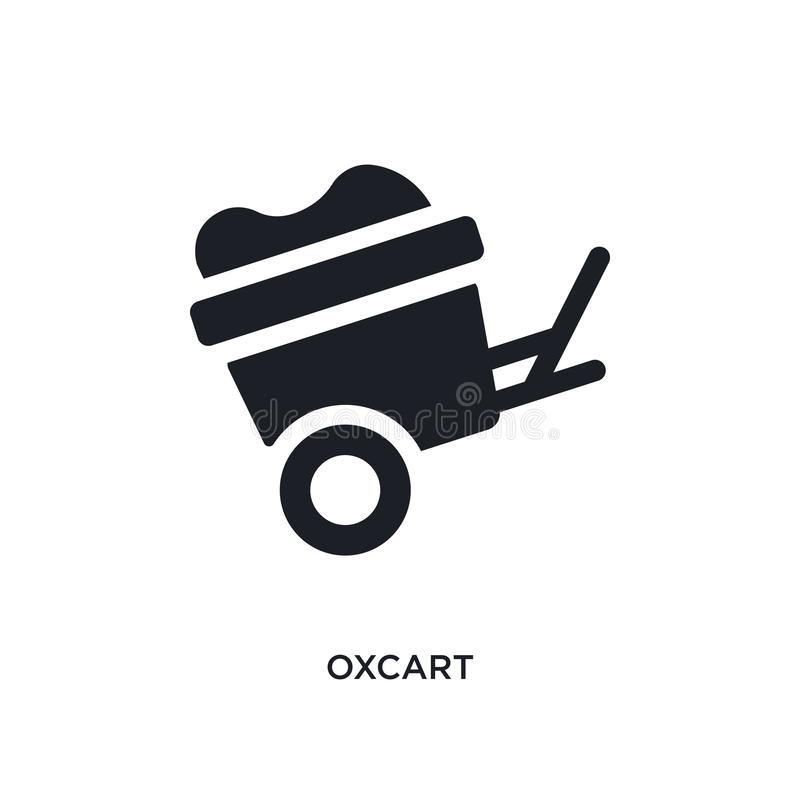 black oxcart isolated vector icon. simple element illustration from transportation concept vector icons. oxcart editable logo royalty free illustration