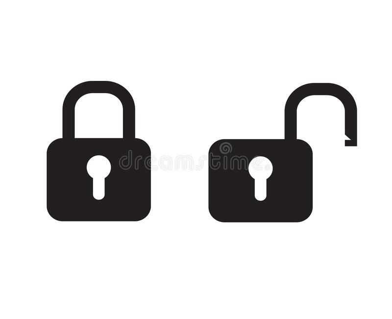 Black padlock locked and unlocked lock web icon on white royalty free illustration