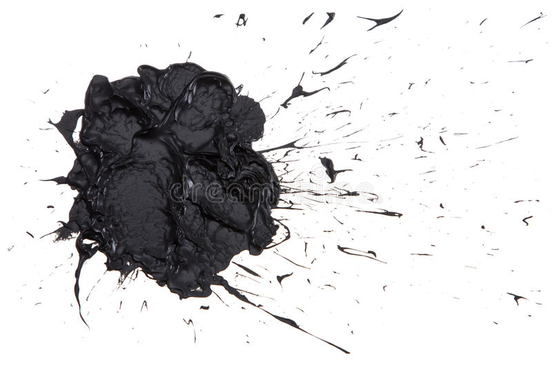 Black paint blot . Black paint blot isolated on the white background stock photo