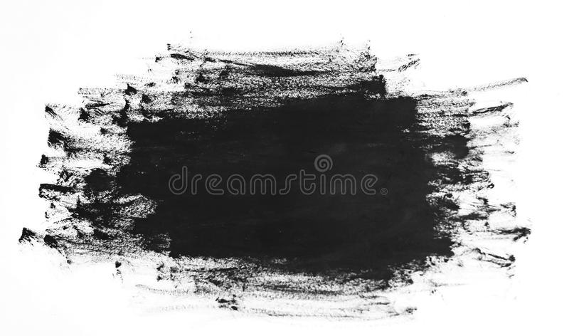 Black paint brush strokes texture isolated on white background stock photography