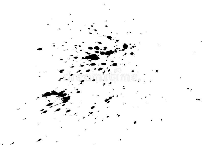 Black paint, ink splash, brushes ink droplets, blots. Black ink splatter background, isolated on white. Black paint, ink splash, brushes ink droplets, blots royalty free illustration