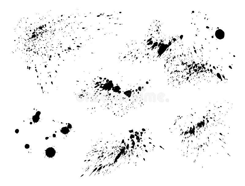 Black paint splatter isolated. Vector texture set. Black paint splatter set isolated on white background. Water splash silhouette vector texture overlay royalty free illustration
