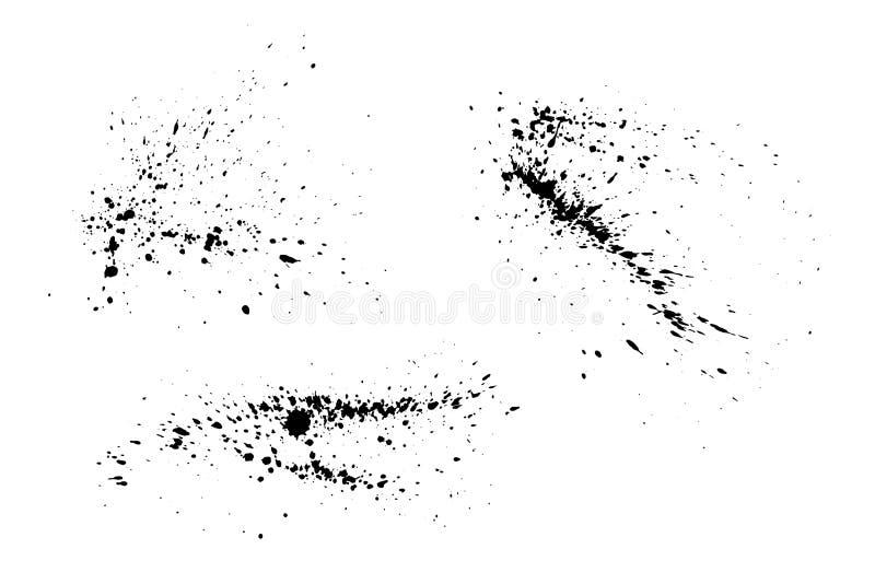 Black paint splatter isolated. Vector texture set. Black paint splatter set isolated on white background. Water splash silhouette vector texture overlay stock illustration
