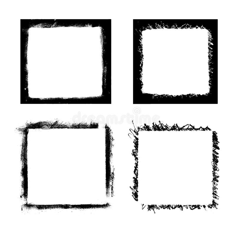 Black paint stains overlay vector texture. Black paint distressed frame overlay texture. Ink blots isolated on white background. Abstract black blots and vector illustration