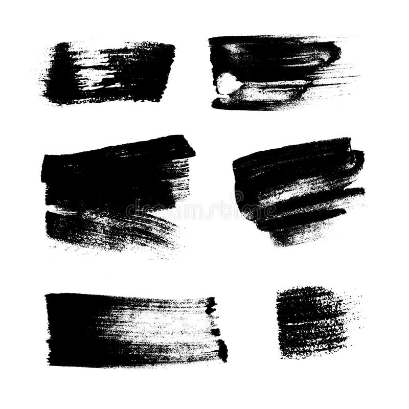Black paint stains overlay vector texture. Black paint stains overlay texture. Ink blots isolated on white background. Abstract black blots and splashes drops stock illustration