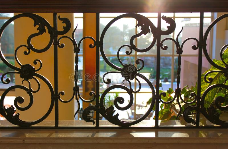 Black painted forged metal railings royalty free stock image