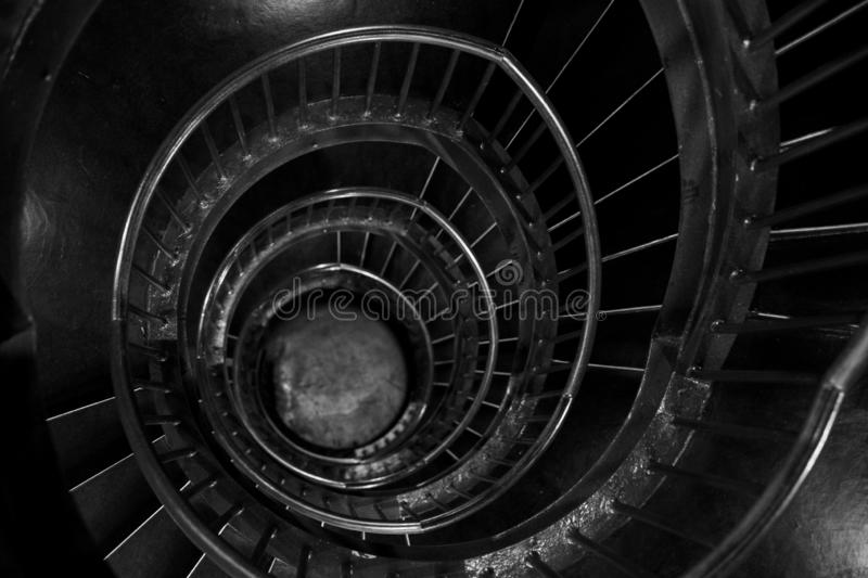 Spiral stairs in the interior of the Zeitz Mocaa Museum of Contemporary Art Africa, on the V&A Waterfront, Cape Town, South Africa royalty free stock photography