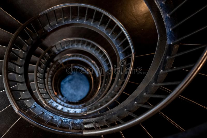 Spiral stairs in the interior of the Zeitz Mocaa Museum of Contemporary Art Africa, on the V&A Waterfront, Cape Town, South Africa stock photography