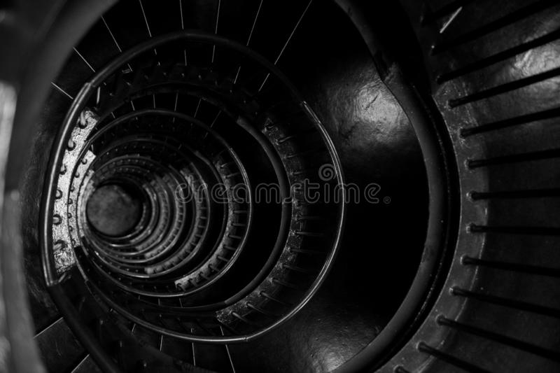 Spiral stairs in the interior of the Zeitz Mocaa Museum of Contemporary Art Africa, on the V&A Waterfront, Cape Town, South Africa stock photo