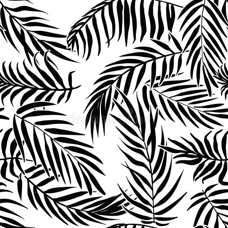 Black palm leaves on white background. Tropical silhouette seamless vector pattern. vector illustration
