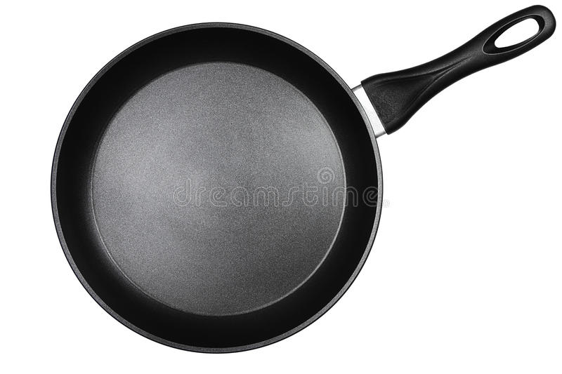 Black pan from top. A black pan isolated on white background stock photography