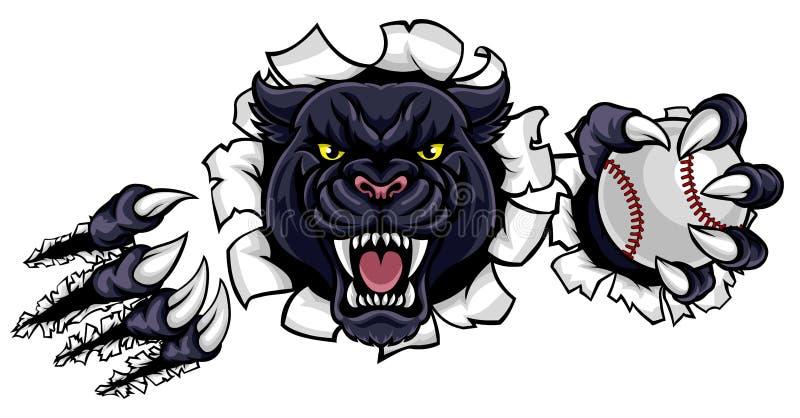 Black Panther Baseball Mascot Breaking Background royalty free illustration
