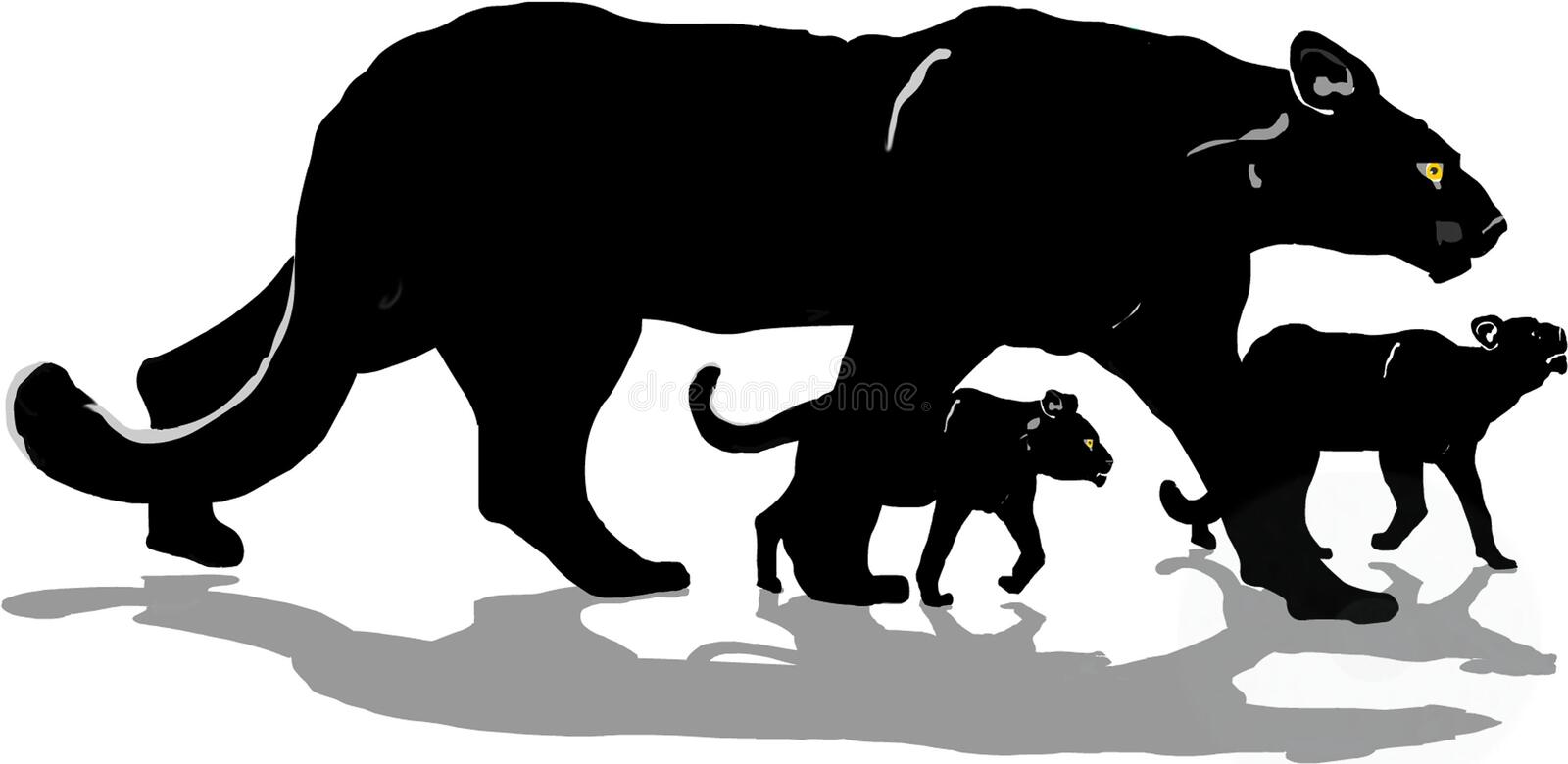 Black panther with cubs royalty free stock images