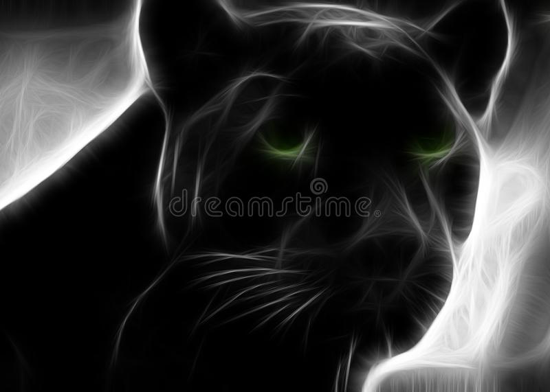 Black panther with green eyes royalty free illustration