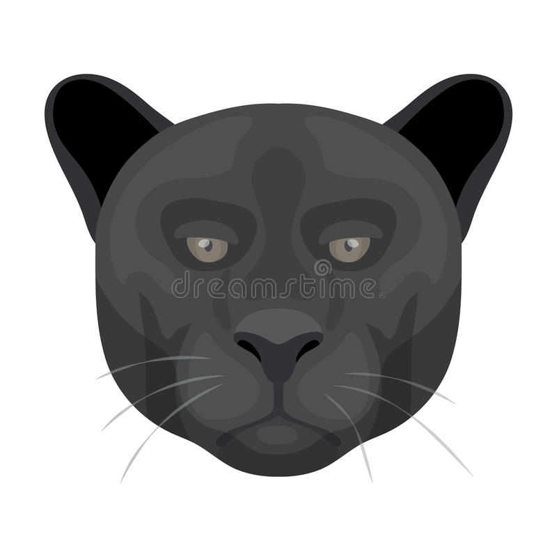Black Panther Icon In Cartoon Style On White Background Realistic