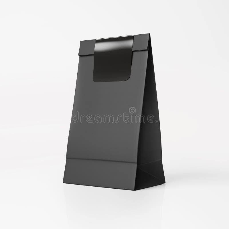 Black paper bag with black sticker. Paper bag mockup with sticker on light background royalty free illustration