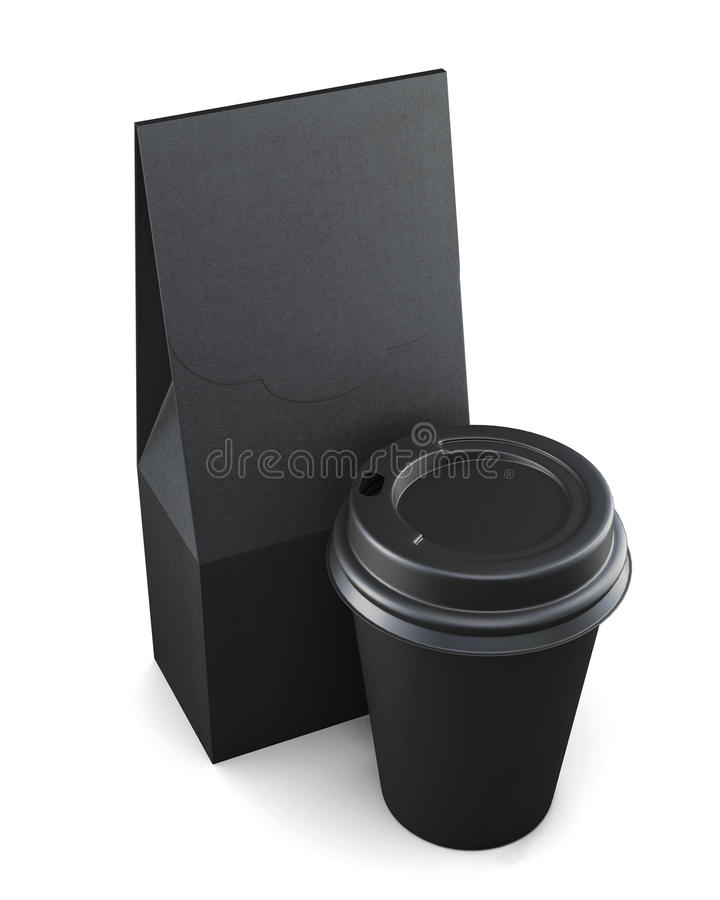 Black paper bag and Cup on a white background. 3d rendering.  royalty free illustration